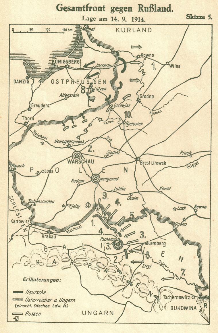 1914-09-14 LIR84 Gesamtfront gegen Russland lage am 14.9.1914 - Skizze 5 v2