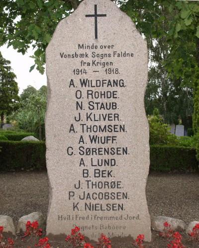 Mindesten, Vonsbæk Kirkegård
