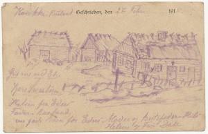 Tegningen af landsbyen Krytlakka af Iver Henningsen 1915.