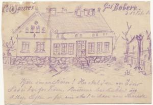 Feldlazaret i Bobern, Østerpreussen. Tegning af Iver Henningsen 1915.