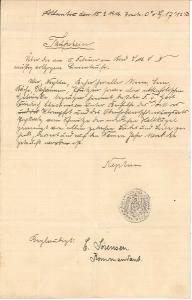Friedrich Christiansen dåbsbevis udstedt af Neptun, da han ombord på hjælpekrydseren Marie passerede ækvator den 15. februar 1915 (Arkivet ved Dansk Centralbibliotek)