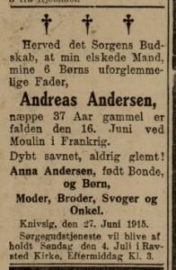 Dødsannonce for Andreas Andersen, Flensborg Avis 1. juli 1915