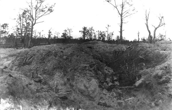 Russisk skyttegrav efter seks timers trommeild (Museum Sønderjylland - Haderslev Museum)