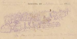 Sanitetskolonne på østfronten tegnet af Iver Henningenen 5. juni 1915 (Historisk Arkiv for Haderslev Kommune)