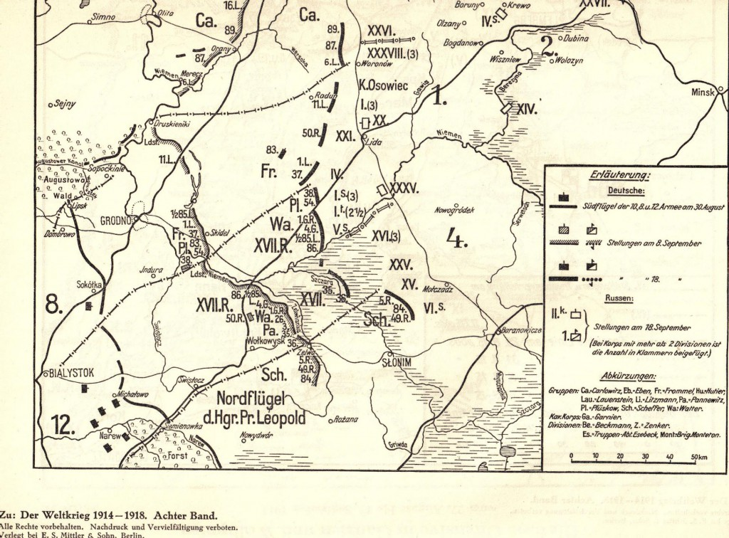 1915-09-02 LIR84 - Die Schlacht bei Wilna - Die Heeresgruppe Hindenburg vom 30. August bis 18. September 1915 - skizze 28