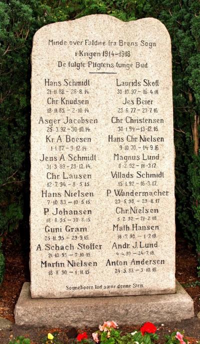 Mindesten. Brøns Kirkegård. A. Schack Stoffer står næstnederst til venstre