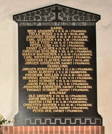 Mindetavle. Nustrup Kirke. 2 brødre Bekke, som faldt i krigen