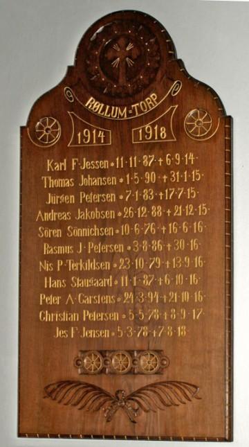 "Mindetavle, Ensted Kirke med Andreas Jacobsens navn, her stavet ""Jakobsen"""