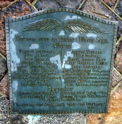 Mindesten, Ullerup Kirkegård, med Peter Petersen Noms navn i venstre side