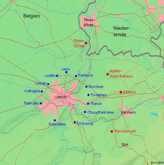 Kort over fæstningerne ved Liége