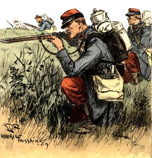 Franske soldater i de karakteristiske røde bukser
