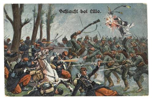 Slaget ved Lille. Tysk postkort.
