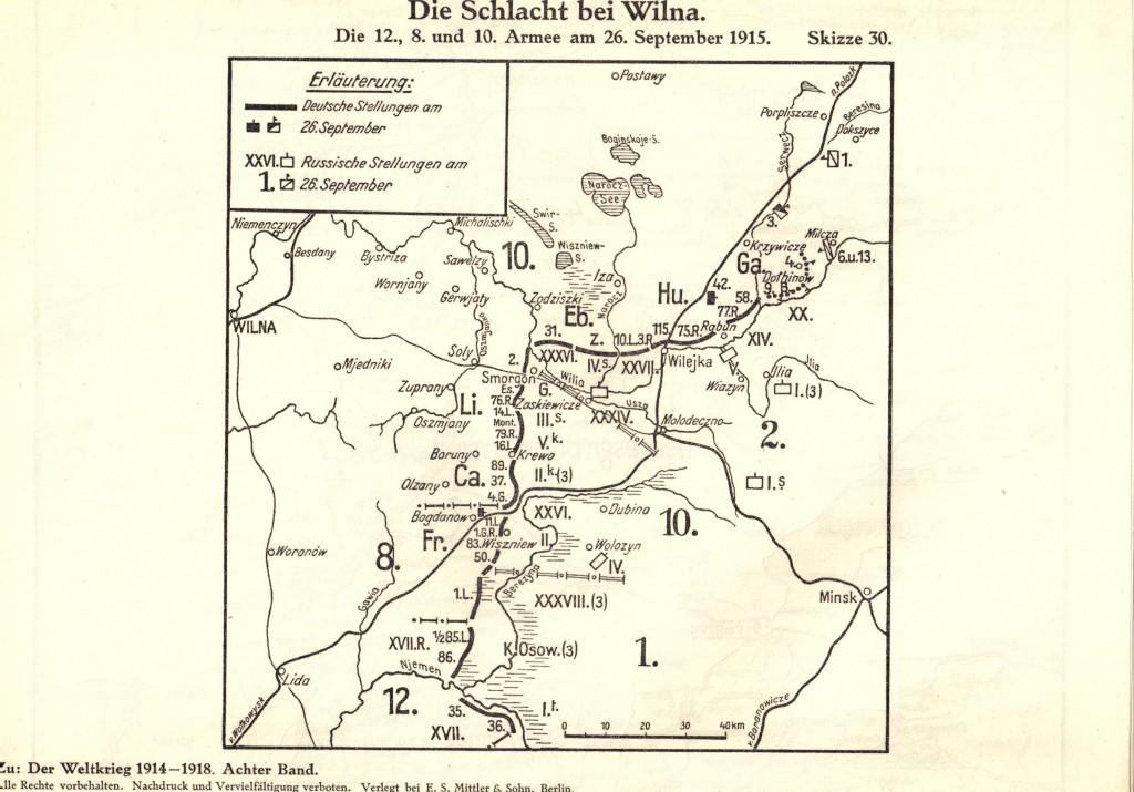 1915-09-26 LIR84 - Die Schlacht bei Wilna - Die 12., 8. und 10 Armee am 26. September 1915 - skizze 30