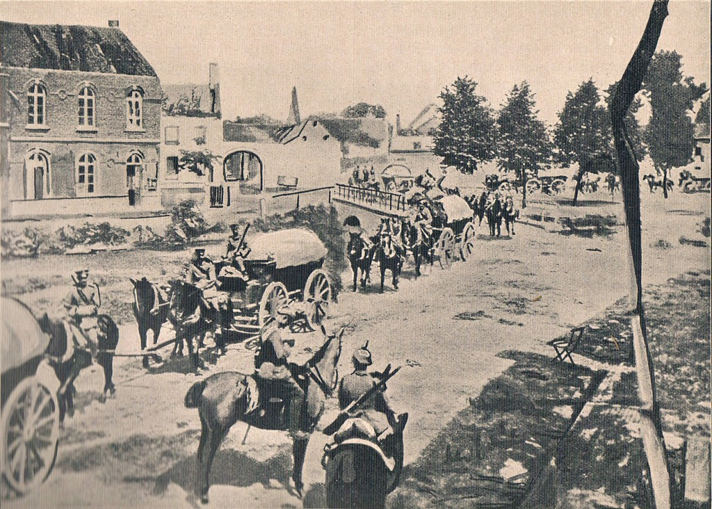 Tysk proviantkolonne i belgisk landsby