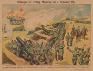 1914-09-07 tysk artilleri Mauberge