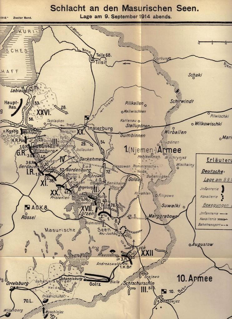 1914-09-10 LIR84 Schlacht an den Masurischen Seen. Lage am 9. September 1914 abends - Karte 14