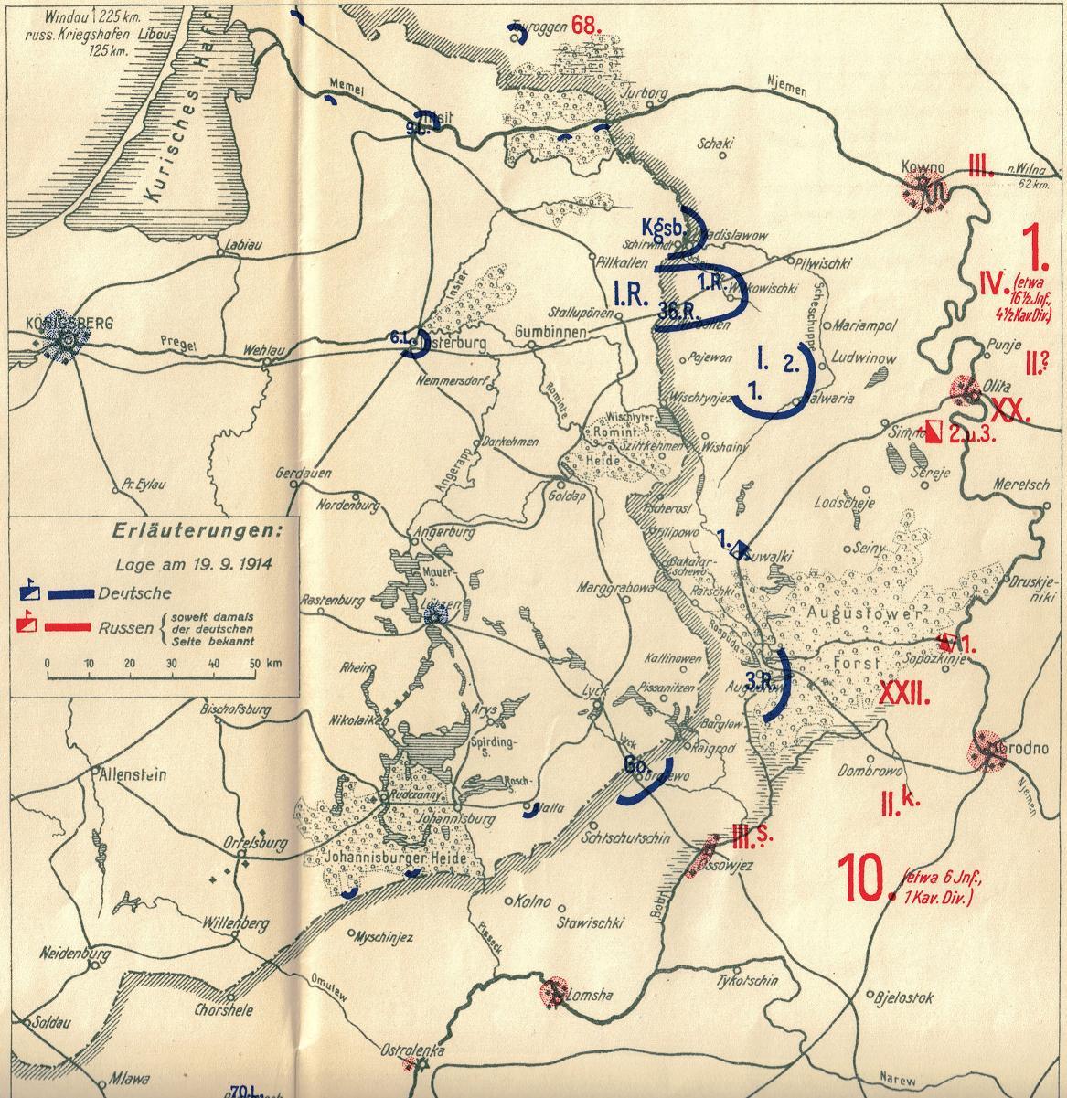 1914-09-19 Lage in Ostpreussen am 19.9.1914 - Skizze 11
