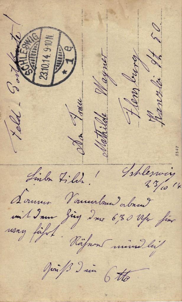 Bagsiden af fotografiet øverst på siden, afsendt fra Slesvig by 23. oktober 1914.