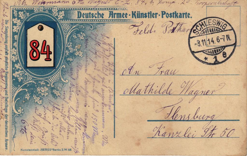 1914-11-03 LIR4 Otto Theodor Wagner - hurah die 4. Landwehrkompagnie ist dar - bagside