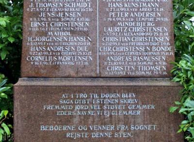 Detalje af mindesten, Hørup Kirkegård