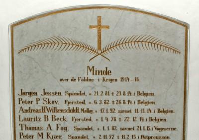 Mindetavle, Spandet kirke