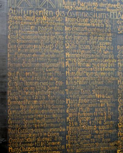 Mindetavle over tidligere, faldne elever fra Haderslev Katedralskole