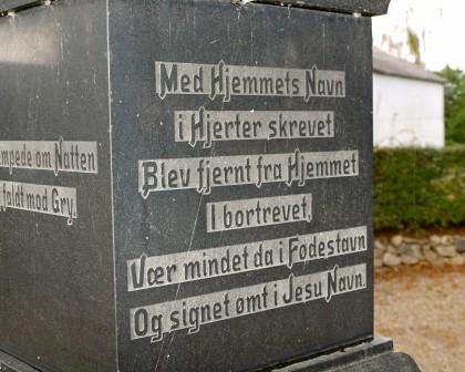 Detalje af mindesten, Rise Kirkegård