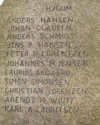 Detalje af mindesten, Sønder-Hygum Kirkegård