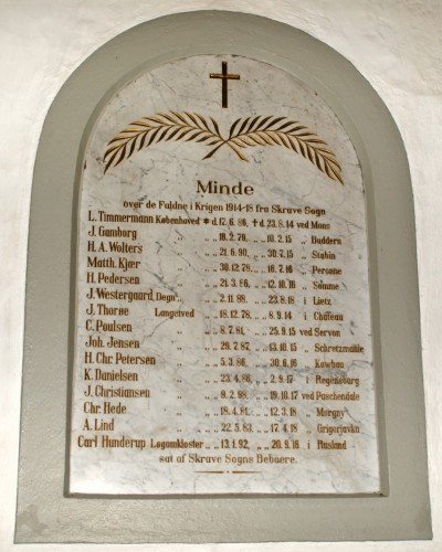 Mindetavle, Skrave Kirke