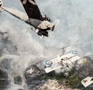 Tysk Fokker Eindecker angriber britisk flyvemaskine. Udsnit af postkor (Museum Sønderjylland - Sønderborg Slot)
