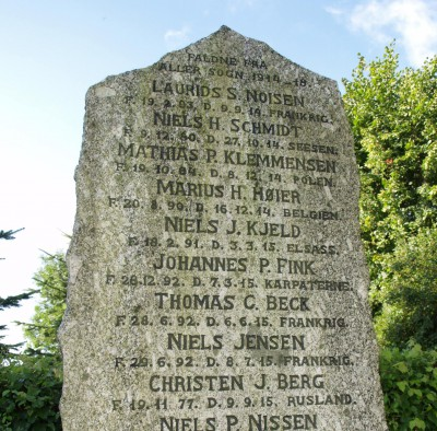 Detalje af mindesten, Aller Kirkegård