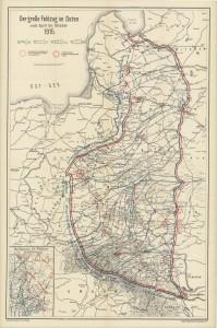 Østfrontens udstrækning fra april til oktober 1915.