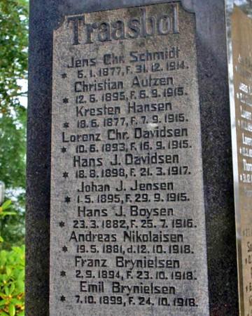 Mindesten. Felsted Kirkegård med Lorenz Christian Davidsens navn