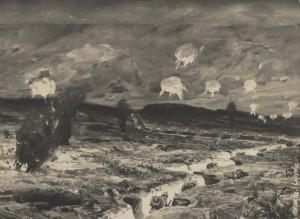 Scene aus den schweren Kämpfe an der Loretto Höhe