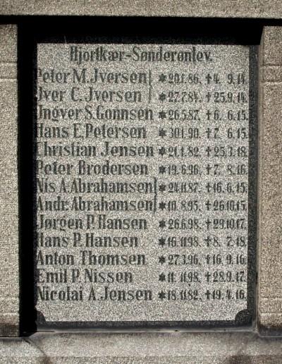 Mindesten, Hjordkær Kirkegård med de to brødre Nis Andreas og Andreas Abrahamsens navne