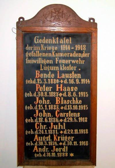Mindetavle over faldne brandmænd fra Løgumkloster. Museet Holmen, Løgumkloster