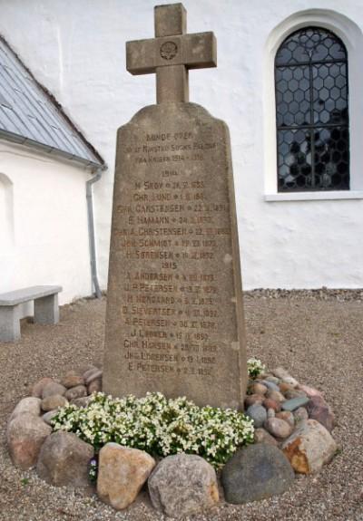 Mindesten. Ravsted Kirkegård med Hans Skov og Christian Lund øverst