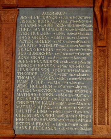 Mindetavle, Agerskov Kirke, med Jens Jørgen Grams navn