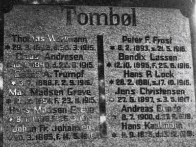 Detalje fra mindesten, Felsted Kirkegård, med brødrene Mads Madsen Greve og Hans Madsen Greve