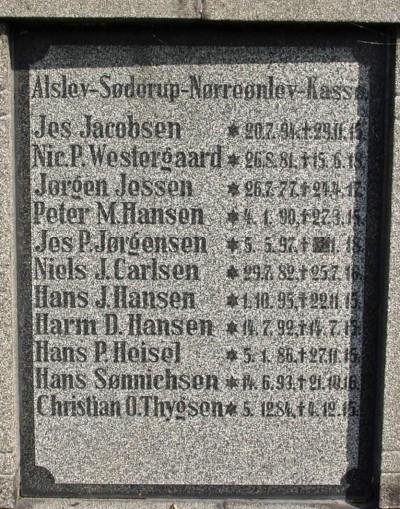 """Mindesten, Hjordkær Kirkegård med Hans Jacob Hansen som """"Hans J. Hansen"""""""