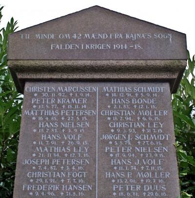 Detalje fra mindesten, Kegnæs Kirkegård med Hans Wolfs navn