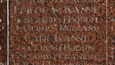 Detalje fra mindesten, Løjt Kirkegård. Brødrene Friedrich Wilhelm og Carl Wilhelm Kanne