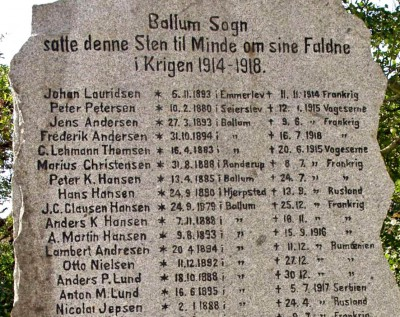 Mindesten, Ballum Kirkegård
