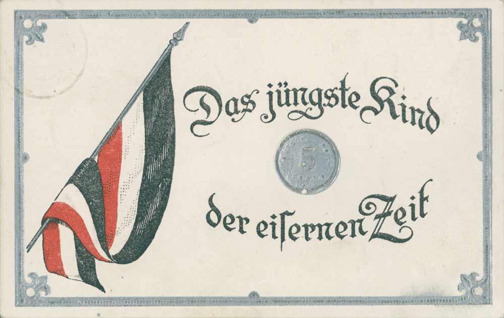 """Satirisk Postkort """"Jerntidens seneste barn"""" (Arkivet ved Dansk Centralbibliotek)"""