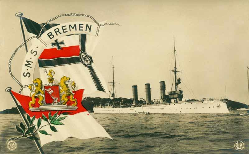SMS Bremen i fredsbemaling med hvidt skrog og gulmalede overbygninger (Arkivet ved Dansk Centralbibliotek)