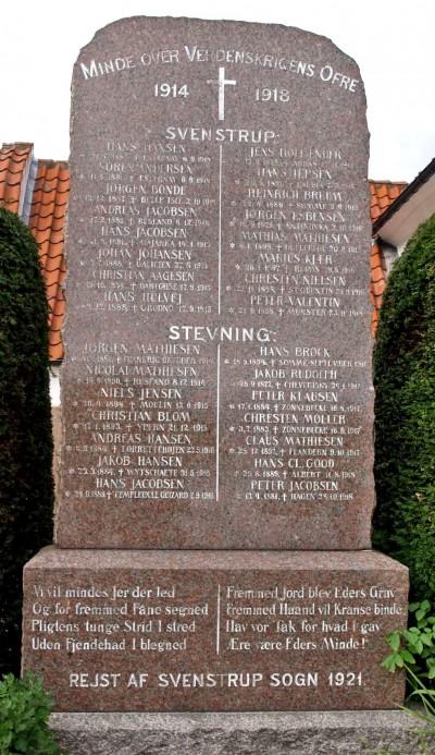 Mindesten, Svenstrup Kirkegård