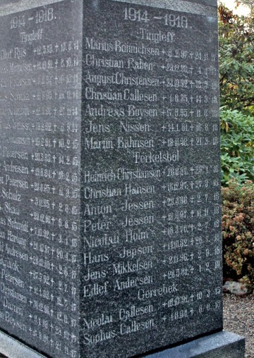"Mindesten, Tinglev Kirkegård. Heinrich Christensen står under ""Terkelsbøl"""