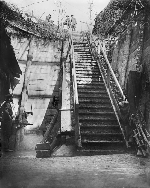 German_dugout_steps_Bernafay_Wood_Somme_1916