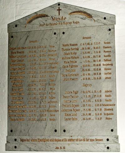 Mindetavle, Højrup Kirke med de to brødre Frederik og Johannes Boysens navne nederst i højre side